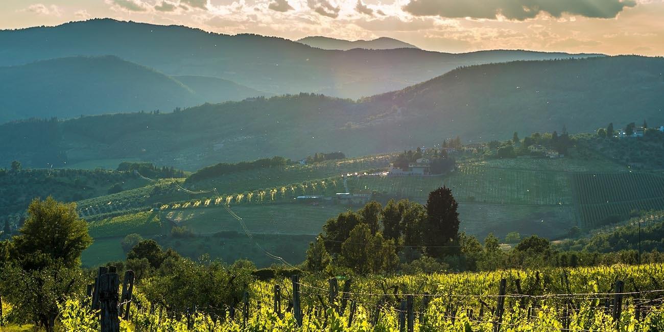 Karakteristiska landskap i Toscana.