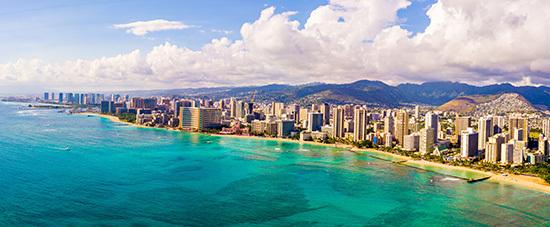Flygbild över Honolulus kustremsa