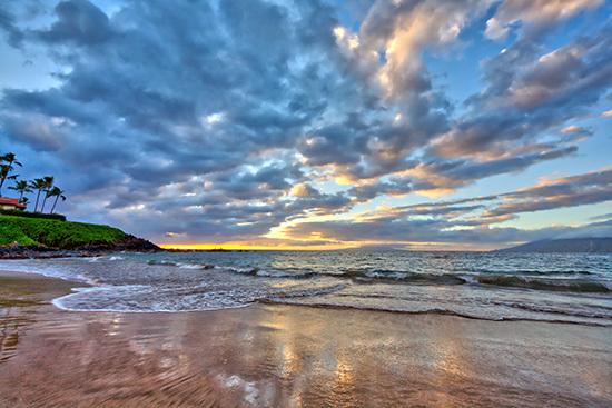Solnedgång vid Wailea Beach på Hawaii
