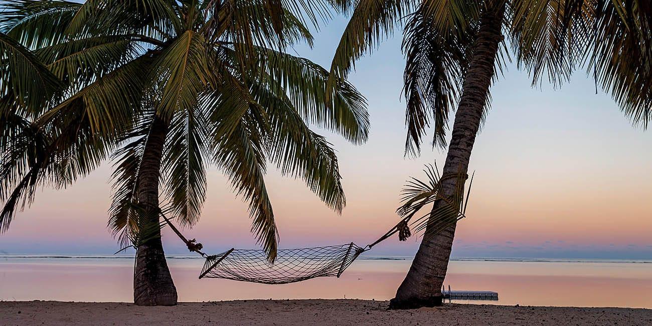 Vackra solnedgångar, palmer och hängmattor