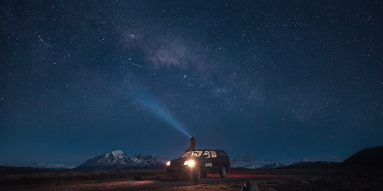 En lång natt med vacker stjärnhimmel